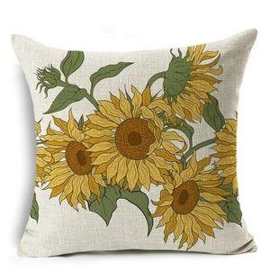 Home Decor Sun Flowers Print Cover Pillow